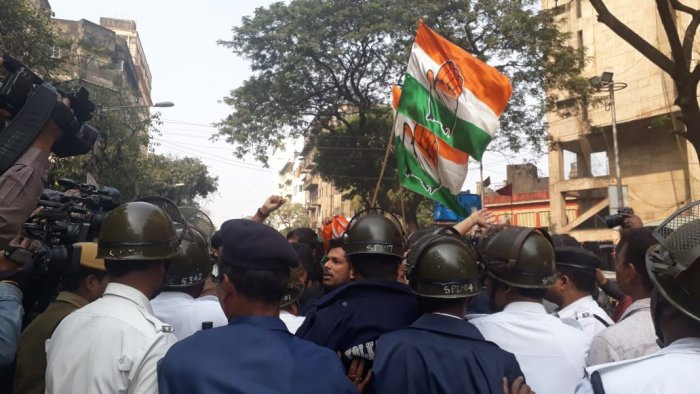 Protest in front of Hind Cinema in Kolkata by Youth Congress. Photo Credit: Special Arrangement