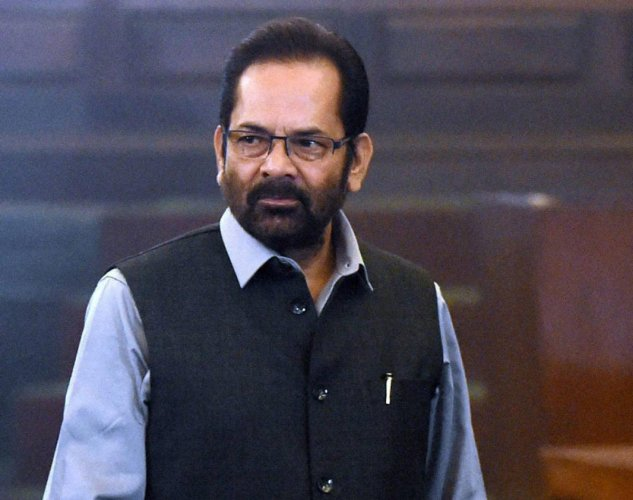 "Naqvi, addressing a public meeting in Rampur in Uttar Pradesh, alleged that the Congress and the SP-BSP want to make a ""coalition of crime"" in Uttar Pradesh. File photo"