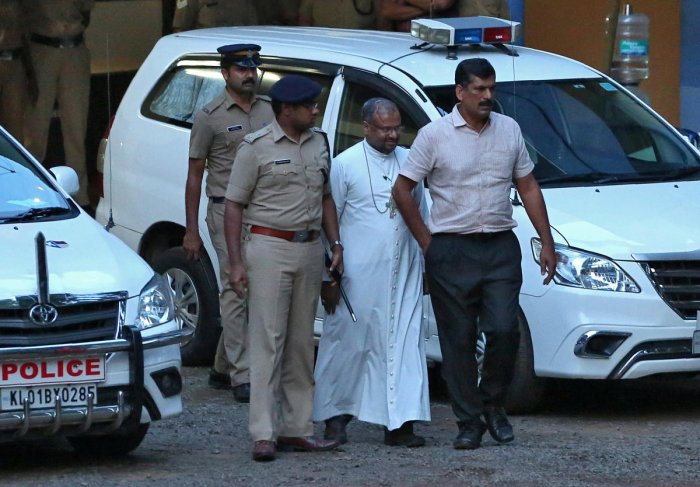 Franco Mulakkal (2nd R), accused of raping a nun, is pictured outside a crime branch office on the outskirts of Kochi in the southern state of Kerala, India, September 19, 2018. Reuters photo