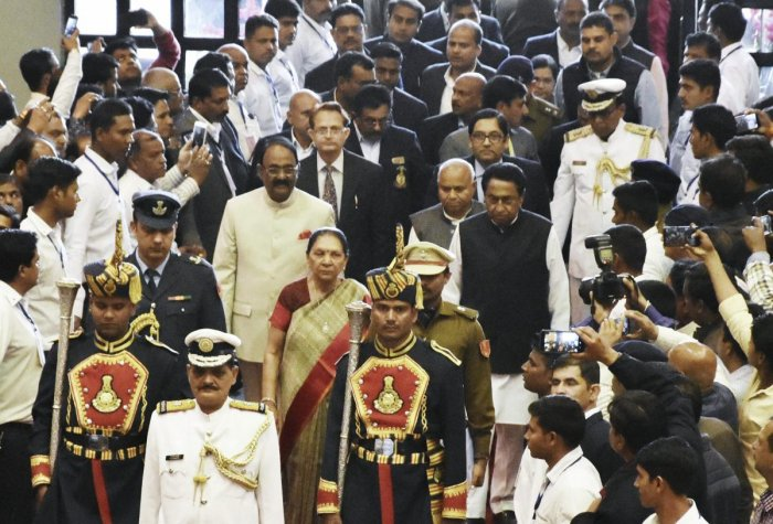 Madhya Pradesh governor Anandiben Patel arrives with Madhya Pradesh Assembly speaker NP Prajapati, MP Chief Minister Kamal Nath and Minister for Parliamentary Affairs Govind Singh to address the winter session, in Bhopal on Tuesday. PTI