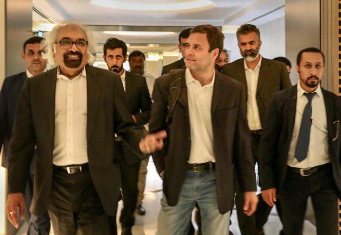 Congress President Rahul Gandhi at Dubai International Airport. PTI Photo