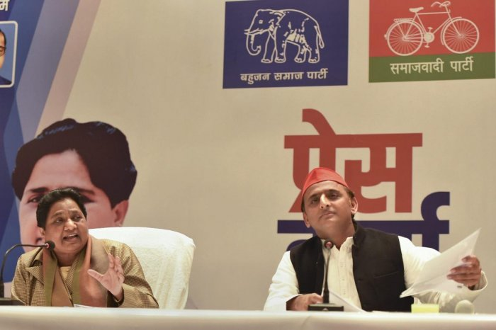BSP supremo Mayawati and Samajwadi Party president Akhilesh Yadav during a joint press conference in Lucknow on Saturday. PTI