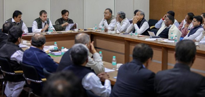Congress president Rahul Gandhi addresses state unit chiefs and Congress Legislature Party leaders meeting, in New Delhi, on Saturday. PTI