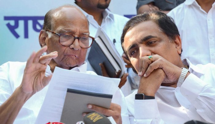Nationalist Congress Party chief Sharad Pawar and state NCP chief Jayant Patil during the announcement of Lok Sabha candidates, in Mumbai, Friday, March 15, 2019. PTI
