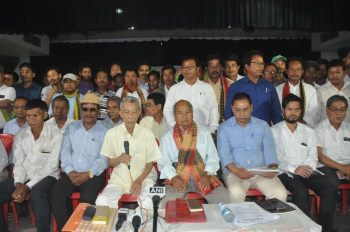 IPFT leaders announcing names of its candidates for Lok Sabha polls, in Agartala. Photo by Pranab Shill.