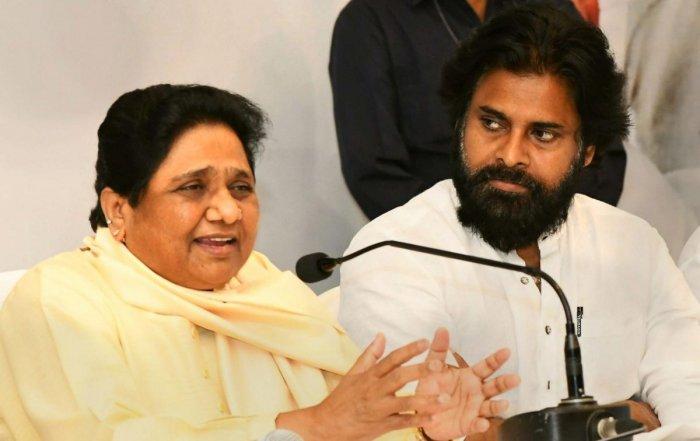 Bahujan Samaj Party supremo Mayawati with Jana Sena party Chief Pawan Kalyan during a press conference, in Visakhapatnam, Wednesday, April 03, 2019. (PTI Photo)