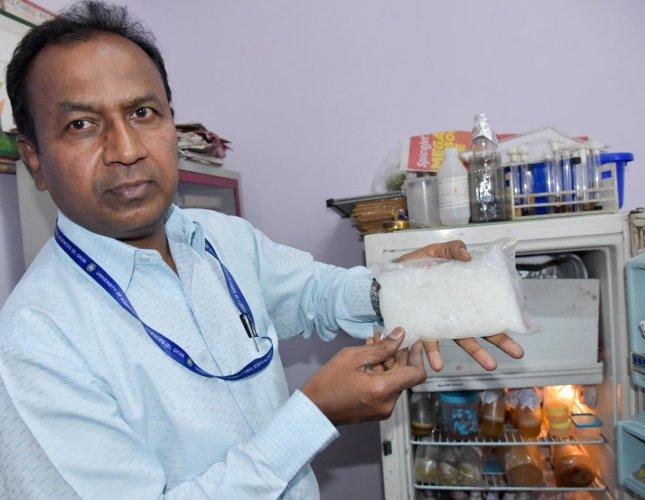 B Narayanaswamy shows the enriched nata de coco. DH PHOTO/B H SHIVAKUMAR