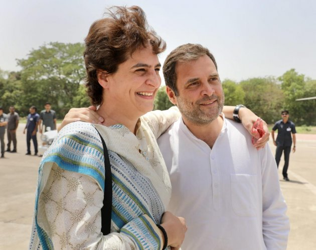 Congress President Rahul Gandhi with party's General Secretary and sister Priyanka Gandhi Vadra at public meeting. PTI Photo