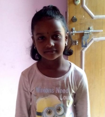 Janani (7), who was run over by a water tanker tractor in Lingarajapuram.