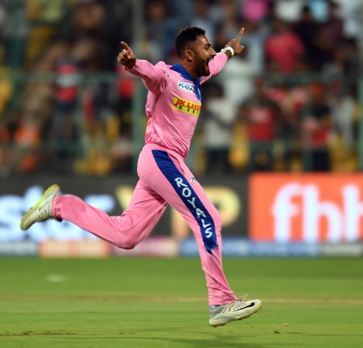 ON CLOUD NINE: Rajasthan Royals' Shreyas Gopal celebrates after bagging a hatrick against Royal Challengers Bangalore in their IPL game at the Chinnaswamy stadium in Bengaluru on Tuesday. DH Photo/Srikanta Sharma R
