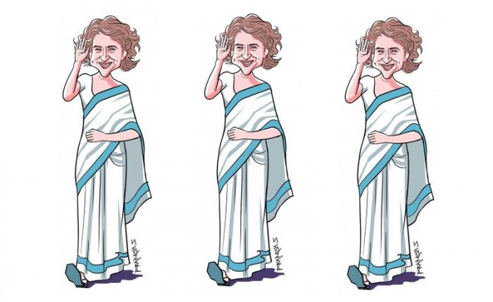 Priyanka dropped the hint at her marathon meetings in Lucknow with party workers, who had come from different Lok Sabha constituencies in the eastern region, which continued throughout Tuesday night. DH Illustration by Prakash S