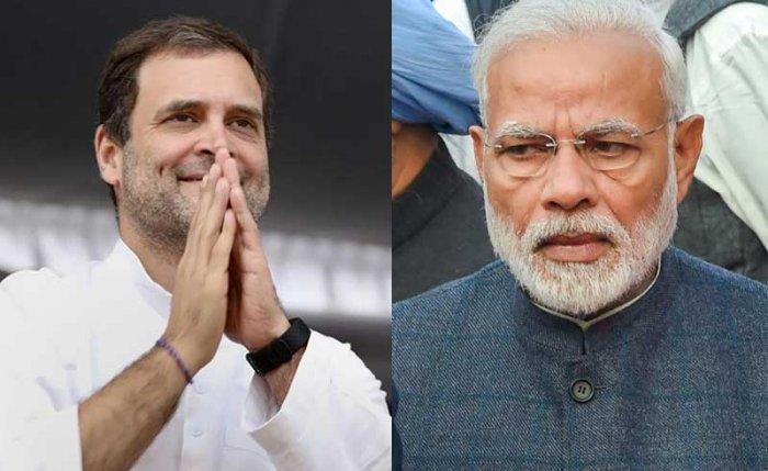 Separated by 40 km, Prime Minister Narendra Modi and Congress president Rahul Gandhi hit out at each other while addressing election rallies in the Hoshangabad parliamentary constituency on Wednesday evening. (PTI File Photo)
