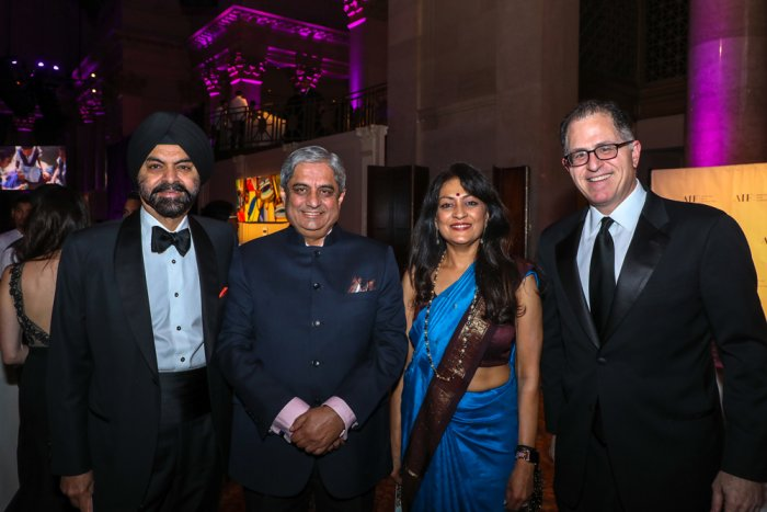Aditya Puri (second from left) and Michael Dell (right) with AIF's Lata Krishnan (second from right) and Ajay Banga. Photo credit: AIF
