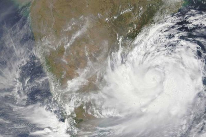 Photo provided by NASA shows a satellite view of Cyclone Fani.