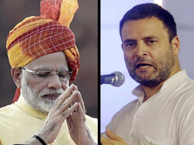 Congress President Rahul Gandhi and Prime Minister Narendra Modi.PTI photo
