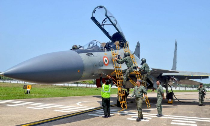 Indian Air Force landed a Sukhoi fighter jet in Lokpriya Gopinath Bordoloi International Airport airport at Borjhar as part of its decision to use the civilian airports for landing fighter jets during emergency situations, in Guwahati, Assam, on Thursday. (PTI Photo)