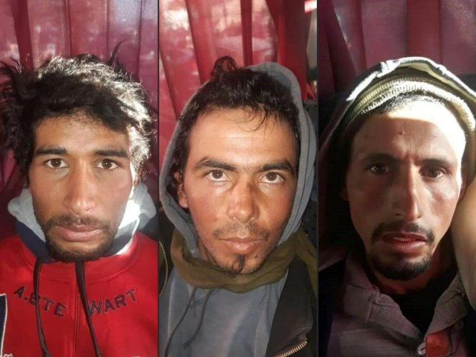 This combination of pictures created on December 20, 2018 shows Rachid Afatti (L), Ouziad Younes (C), and Ejjoud Abdessamad (R), the three suspects in the grisly murder of two Scandinavian hikers whose bodies were found at a camp in Morocco's High Atlas mountains, in police custody following their arrest. AFP PHOTO / HO / MOROCCAN POLICE