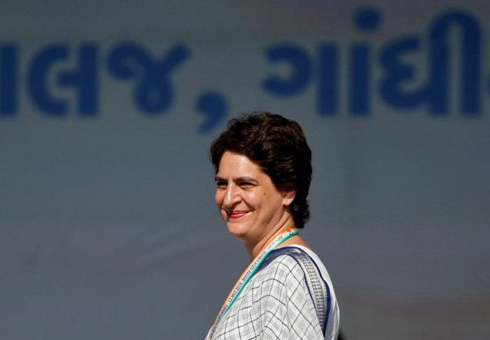 """Asked whether she is dejected about not contesting the Lok Sabha polls from Varanasi against Modi, Priyanka Gandhi said she """"feared no one"""" and went by the direction of the party. Reuters file photo"""