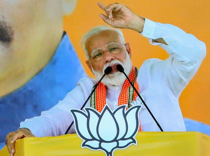 """Addressing a rally in Ausa in Maharashtra's Latur on April 9, Modi said, """"Can your first vote be dedicated to those who carried out the air strike."""" (PTI Photo)"""