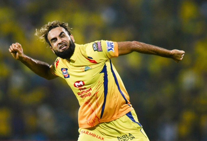THRILLED Chennai Super Kings' Imran Tahir celebrates after dismissing Sherfane Rutherford of Delhi Capitals on Wednesday. Tahir produced an effort of 4/12. AFP