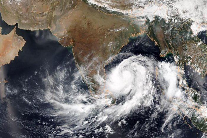 Satellite image from the National Oceanic and Atmospheric Administration (NOAA) shows Tropical Cyclone Fani intensifying in the Bay of Bengal. AFP/NOAA