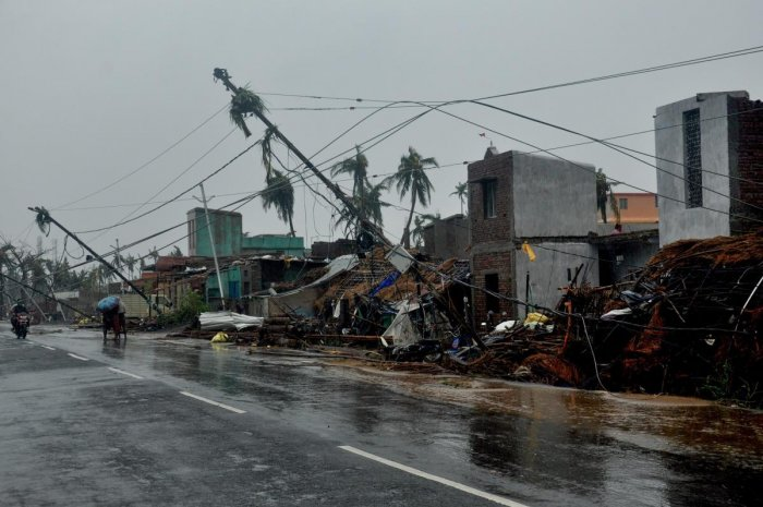 A view of the destruction caused by Cyclone Fani after its landfall, in Puri on Friday. PTI photo