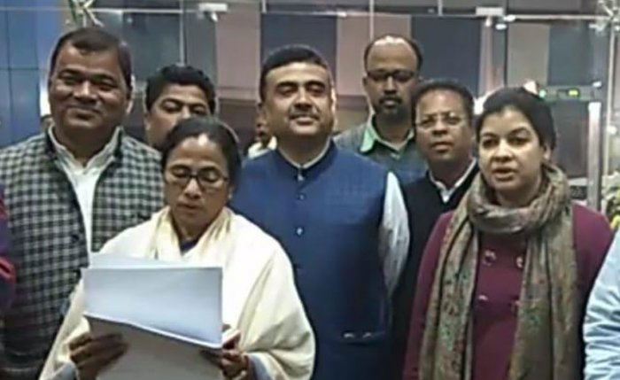 Congress MP Mausam Benazir Noor (extreme left) after joining TMC. (Special Arrangement)