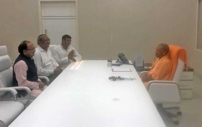 Nishad Party president Sanjay Nishad had a meeting with Adityanath on Friday after which the former announced that he had severed ties with the SP. (Photo via ANI)