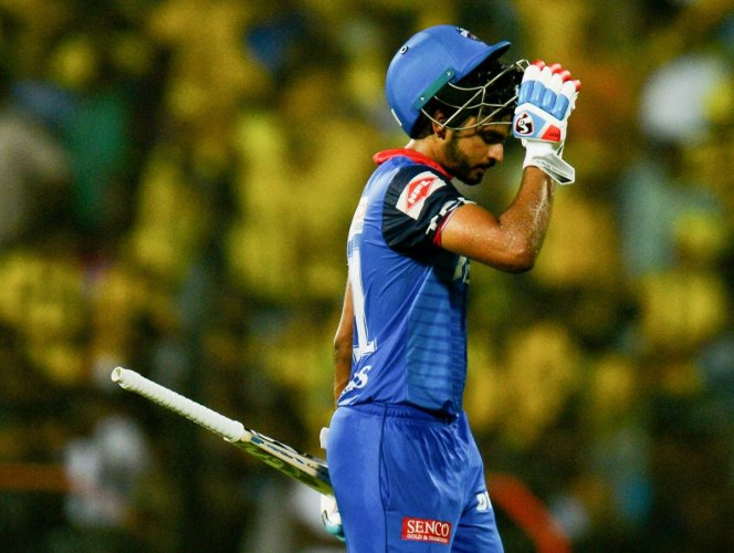 Delhi Capitals cricketer Shreyas Iyer gestures after loosing his wicket during the 2019 Indian Premier League (IPL) Twenty20 cricket match between Chennai Super Kings and Delhi Capitals. AFP
