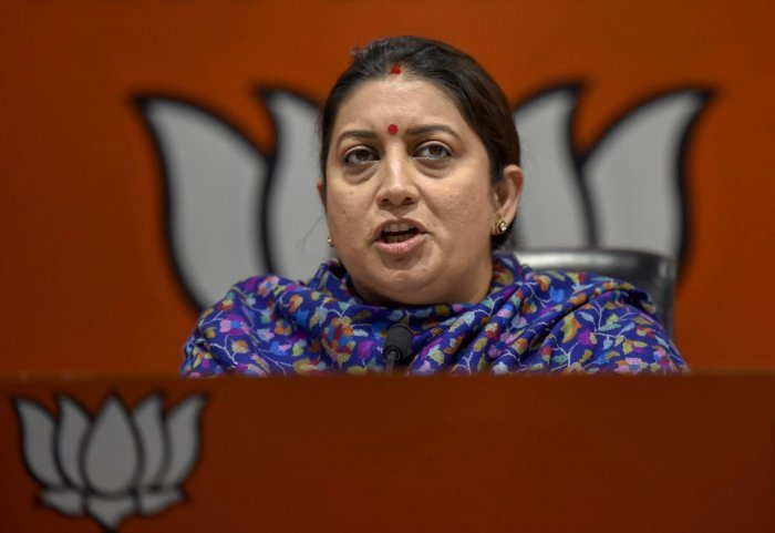 """Union Minister Smriti Irani on Friday blamed the Congress for """"creating hurdle"""" in the judicial process in the Ram temple case through its lawyers and said 'Ram Bhakts' should ask the party about it. PTI file photo"""