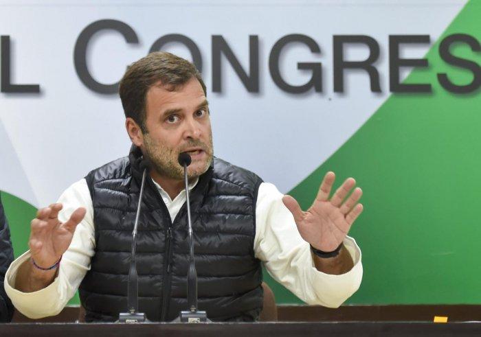 New Delhi: Congress President Rahul Gandhi addresses a press conference at AICC headquarters in New Delhi, Wednesday, Jan. 2, 2019. (PTI Photo/Ravi Choudhary) (PTI1_2_2019_000214B)
