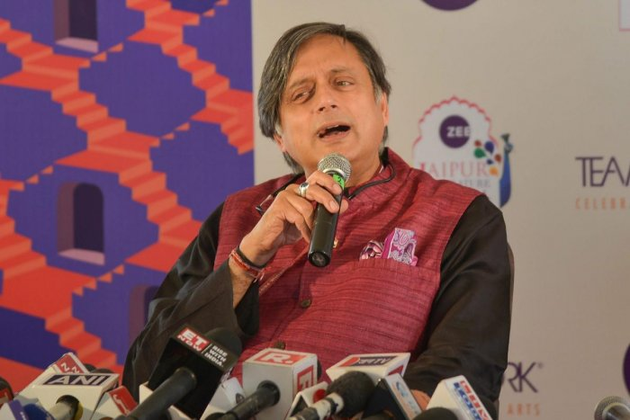 Congress leader Shashi Tharoor speaks during the 2019 Jaipur Literature Festival, at Diggi Palace. PTI