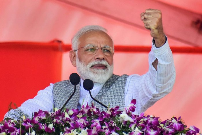 Modi said the Congress was scared of fielding candidates in the seats dominated by the majority population. PTI File photo