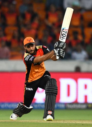 FINDING HIS FORM: Sunrisers Hyderabad batsman Manish Pandey. AFP