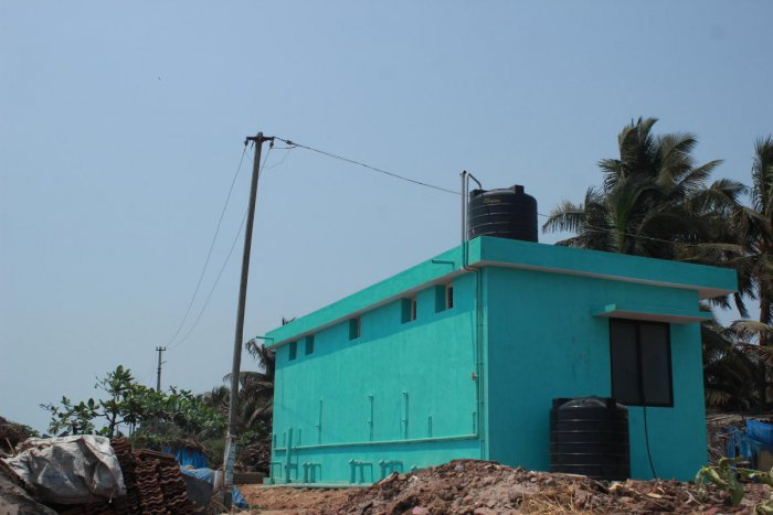 A new pay and use toilet being constructed near Panambur beach.