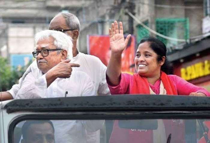 CPI(M) candidate from Barrackpur Gargi Chatterjee (on the right) with Left Front chairperson Biman Basu during campaigning.