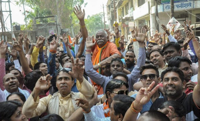 BJP parliamentary candidate from Moradabad, Kunwar Sarvesh Kumar Singh, arrives to file his nomination ahead of the Lok Sabha elections, in Moradabad on March 29, 2019. (PTI Photo)