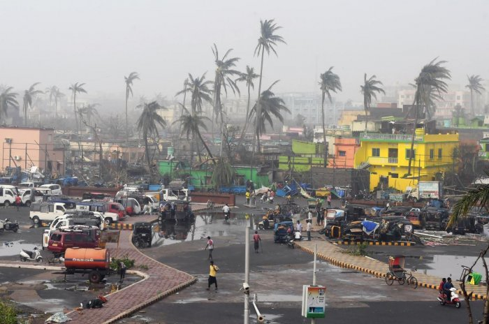 People gather next to storm-damaged buildings and palm trees in Puri in the eastern Indian state of Odisha. AFP photo