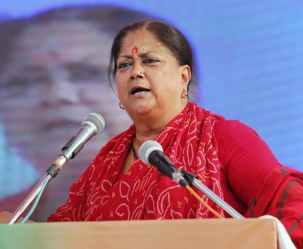"""Raje said Congress president Rahul Gandhi's posters promising to attack poverty and provide minimum income guarantee to the poor reflect the """"injustice"""" done to people during the party's 55 years of governance. PTI File photo"""