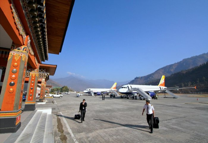 The charming little airport in Paro, Bhutan.