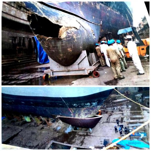 Former minister Pramod Madhwaraj on Friday tweeted picture of a damaged warship INS Kochi.