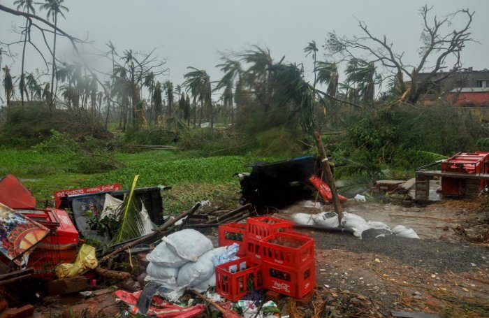 A view of the destruction caused by Cyclone Fani after its landfall in Puri. PTI photo.