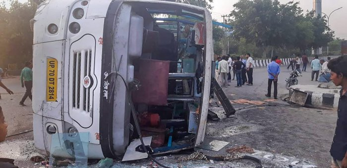 A bus ferrying over 40 women employees of a private company overturned after it was hit by a speeding truck, resulting in injuries to several passengers, police said. PTI Photo