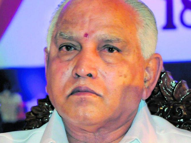 State BJP president B S Yeddyurappa. File photo