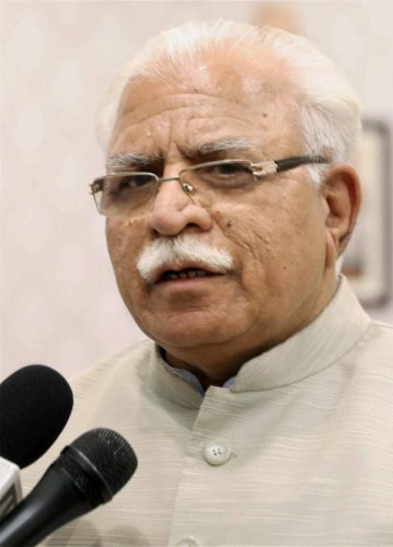 Haryana Chief Minister Manohar Lal Khattar talking to media persons in Chandigarh. PTI/FILE