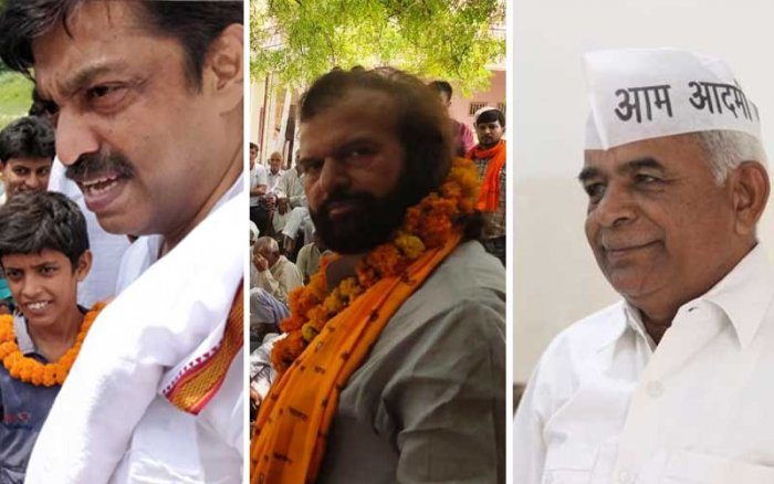 Congress Rajesh Lilothia, BJP's candidate Sufi singer Hansraj Hans and AAP's Gugan Singh.