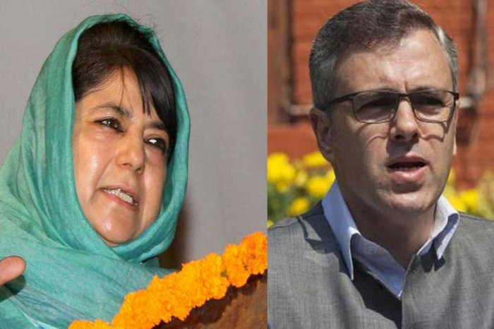 Former chief ministers of Jammu and Kashmir, Mehbooba Mufti and Omar Abdullah. File photo