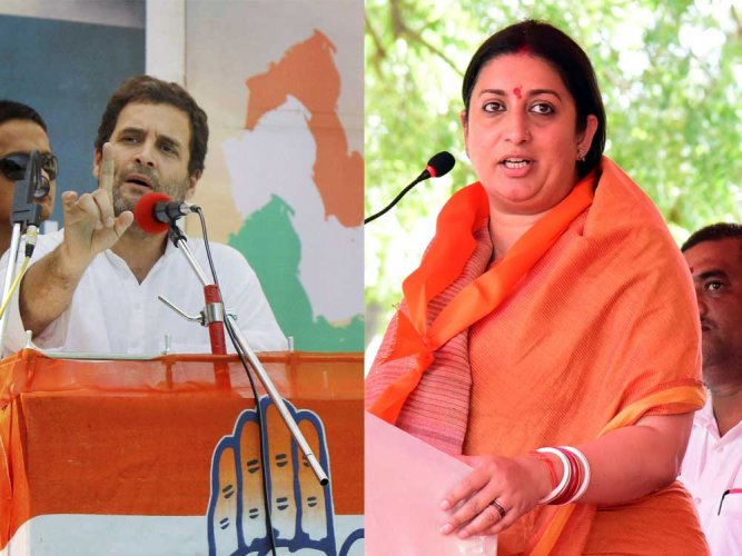 Irani had previously challenged Rahul in the 2014 Lok Sabha Polls and lost by a margin of around 108,000votes. (DH File Photo)