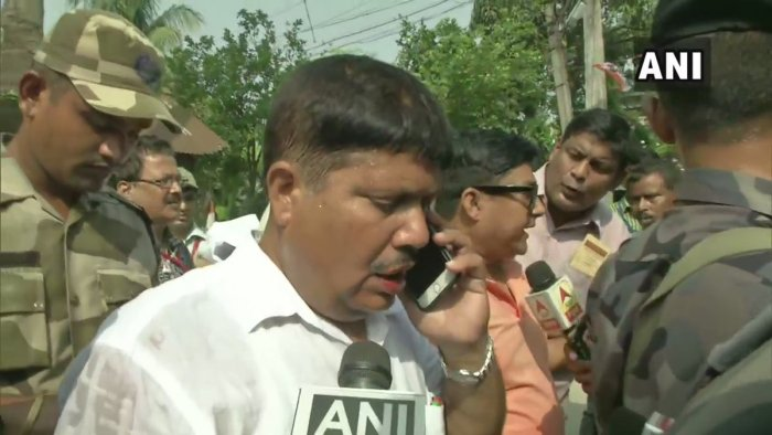 The BJP candidate from the seat,Arjun Singh, has been badly beaten by TMC workers,Javadekar alleged and added that ruling party workers were accompanying voters in the booth. ANI photo