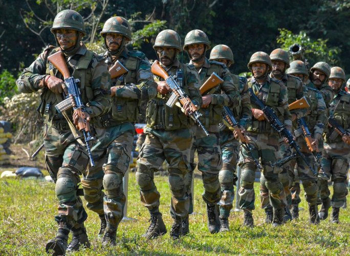 Anjaw: Indian army personnel carry out drills at Kibithu close to the Line of Actual Control (LAC) in Anjaw district of Arunachal Pradesh on Wednesday. PTI Photo (PTI3_31_2018_000063B)